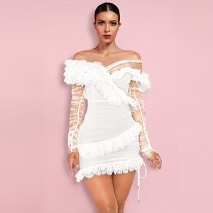 𝐍𝐞𝐰𝐂𝐨𝐥𝐨𝐫 | Off Shoulder Asymmetrical Frill Mini Dress PP19409