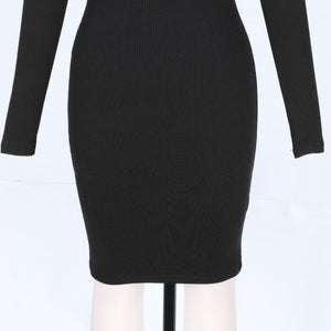 Round Neck Long Sleeve Hollow Out Mini Bandage Dress PF19202 9 in wolddress