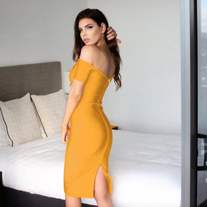 Off Shoulder Short Sleeve Plain Over Knee Bandage Dress DZ004 3 in wolddress