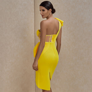 Backless Frill Asymmetrical Bodycon Dress FSY19327