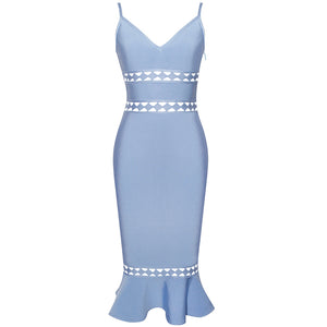 Strappy Sleeveless Hollow Out Over Knee Bandage Dress HJ609