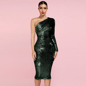 𝐍𝐞𝐰𝐂𝐨𝐥𝐨𝐫 | One Shoulder Sequins Asymmetrical Over Knee Sexy Backless Dress HL8394
