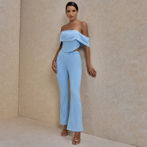 𝐍𝐞𝐰𝐂𝐨𝐥𝐨𝐫 | Off Shoulder Short Sleeve Frill Bodycon Set ML0717
