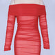 Off Shoulder Long Sleeve Ruched Mini Bodycon Dress FSP19054