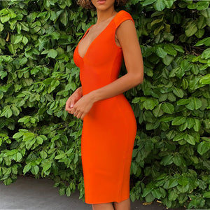 V Neck Sleeveless Plain Mini Bandage Dress PF0801 , , 2