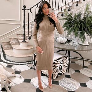 Round Neck Long Sleeve Striped Over Knee Bandage Dress PF1201