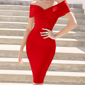 Off Shoulder Short Sleeve Distinctive Mini Bandage Dress PF19122 16 in wolddress