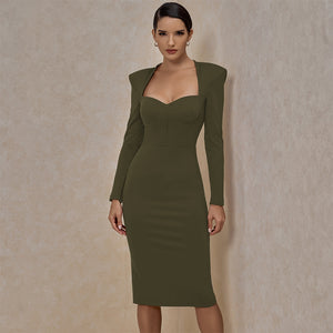 Square Collar Long Sleeve Plain Over Knee Bandage Dress PF20007