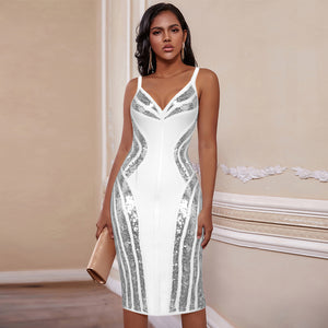 𝐍𝐞𝐰𝐂𝐨𝐥𝐨𝐫 | Strappy Striped Sequins Bandage Dress PP19341