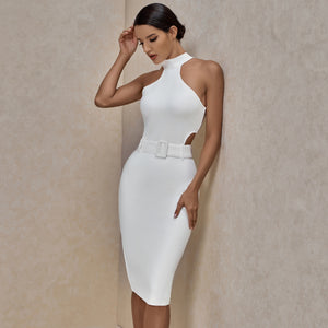 𝐍𝐞𝐰𝐂𝐨𝐥𝐨𝐫 | High Neck Sleeveless Cut Out With Belt Bandage Dress PP19425