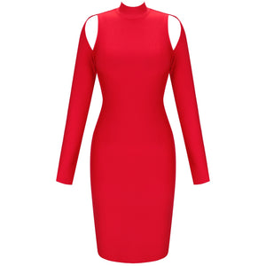 𝐍𝐞𝐰𝐂𝐨𝐥𝐨𝐫 | High Neck Long Sleeve Cut Out Over Knee Bandage Dress PP20009