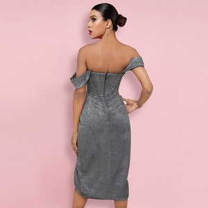 𝐍𝐞𝐰𝐂𝐨𝐥𝐨𝐫 | Off Shoulder Short Sleeve Wrinkled Over Knee Bodycon Dress HI1116