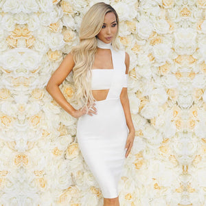 Halter Sleeveless Cut out Midi Bandage Dress SP015 21 in wolddress