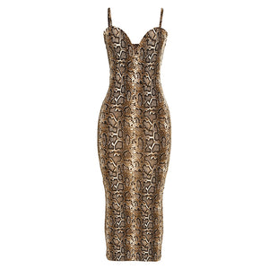 Snakeskin Diagonal Strappy Bodycon Dress YME1221