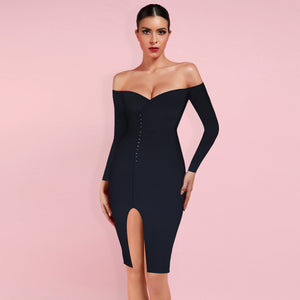 Off Shoulder Long Sleeve Slit Midi Bandage Dress HB7363