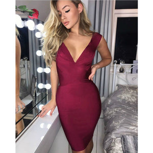V Neck Sleeveless Simple Mini Bandage Dress HK036 1 in wolddress