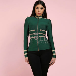 Round Neck Long Sleeve Metal Studded Bandage Jacket PP1115 13 in wolddress