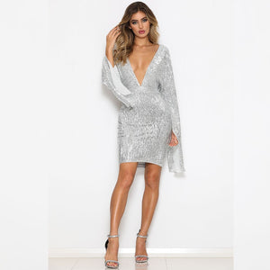 V Neck Long Sleeve Sequined Midi Bodycon Dress FCS0006 1 in wolddress
