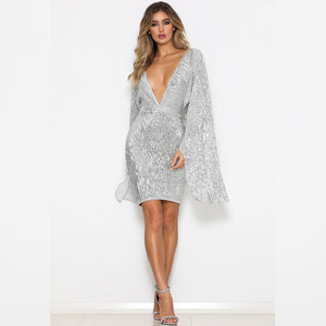 V Neck Long Sleeve Sequined Midi Bodycon Dress FCS0006 2 in wolddress