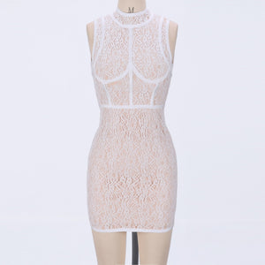 Round Neck Sleeveless Lace Mini Bodycon Dress HJ624 1 in wolddress