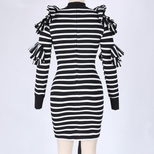 High Neck Long Sleeve Striped Maxi Bodycon Dress HW297 6 in wolddress