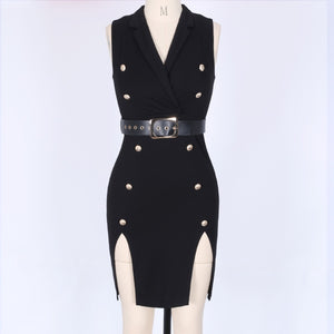V Neck Sleeveless Metal Studded Mini Bandage Dress HF129 4 in wolddress