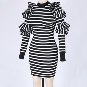 High Neck Long Sleeve Striped Maxi Bodycon Dress HW297 5 in wolddress