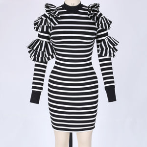High Neck Long Sleeve Striped Maxi Bodycon Dress HW297 4 in wolddress