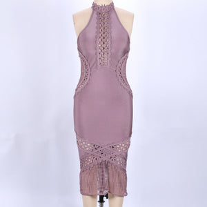 High Neck Sleeveless Mesh Over Knee Bandage Dress SW033 12 in wolddress