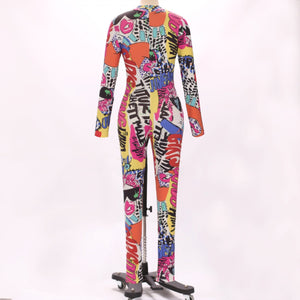 Halter Long Sleeve Printed Bodycon Jumpsuit HW311 4 in wolddress