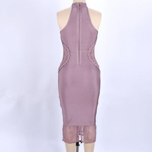 High Neck Sleeveless Mesh Over Knee Bandage Dress SW033 14 in wolddress
