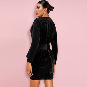 V Neck Long Sleeve Ruched Mini Bodycon Dress FLY19282 2 in wolddress