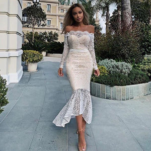 Off Shoulder Long Sleeve Fishtail Over Knee Bodycon Dress FSP19045 1 in wolddress