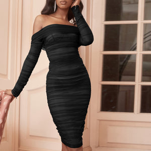 Off Shoulder Long Sleeve Ruched Mini Bodycon Dress FSP19054 9 in wolddress