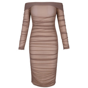 Off Shoulder Long Sleeve Ruched Mini Bodycon Dress FSP19054 6 in wolddress
