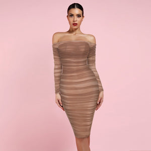 Off Shoulder Long Sleeve Ruched Mini Bodycon Dress FSP19054 4 in wolddress
