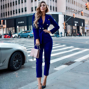 V Neck Long Sleeve Metal Studded Bodycon Suit FSY006