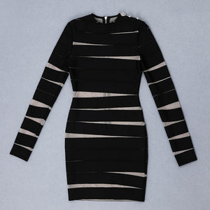 Round Neck Long Sleeve Mesh Mini Bandage Dress HB7132 7 in wolddress