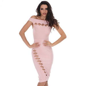 Off Shoulder Sleeveless Cut Out Mini Bandage Dress HD387 1 in wolddress