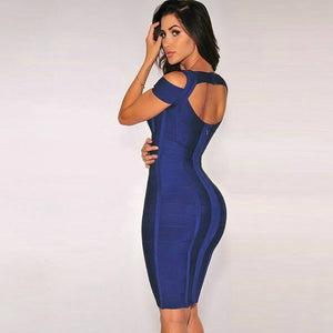 Round Neck Sleeveless Striped Mini Bandage Dress HG291 2 in wolddress