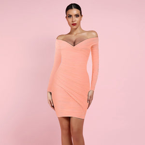 Off Shoulder Long Sleeve Ruched Mini Bodycon Dress HI1024 1 in wolddress