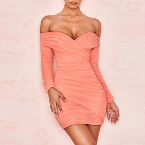 Off Shoulder Long Sleeve Ruched Mini Bodycon Dress HI1024 3 in wolddress
