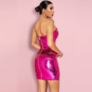 Strapless Sleeveless Sequined Mini Bodycon Dress HI1097 2 in wolddress