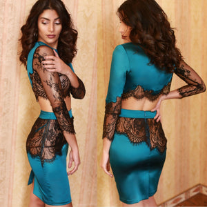 Round Neck Long Sleeve Lace Midi Bodycon Dress HI927 2 in wolddress