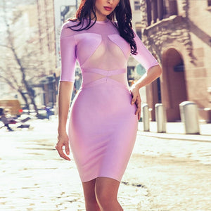 Round Neck Short Sleeve Mesh Blocked Mini Bandage Dress HI955 1 in wolddress