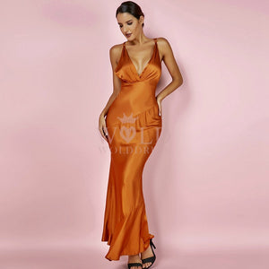 V Neck Sleeveless Satin Smooth Maxi Bodycon Dress HI970 1 in wolddress