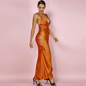 V Neck Sleeveless Satin Smooth Maxi Bodycon Dress HI970 2 in wolddress
