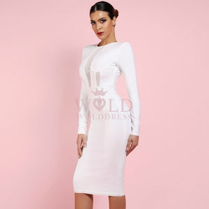 Round Neck Long Sleeve Mesh Over Knee Bandage Dress HI991 2 in wolddress