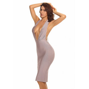 Halter Sleeveless Backless Midi Bandage Dress PPHJ392 2 in wolddress