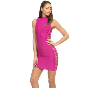 High Neck Sleeveless Cut Out Mini Bandage Dress HJ402 1 in wolddress